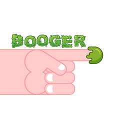Snot on finger pick your nose snivel hand and vector