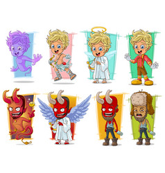 Cartoon little cupid and red demon character set vector