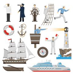 Sailboat vessel attributes icons set vector