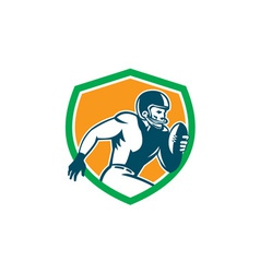 American football player running shield retro vector