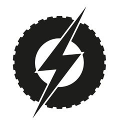Logotype round wheel with lightning eco electric vector
