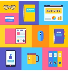 Business collection of flat and colorful web icons vector