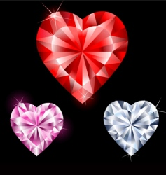 precious stones in heart shape vector image