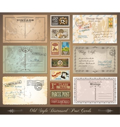 Distressed postcards vector