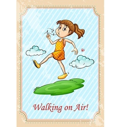 Idiom walking on air vector