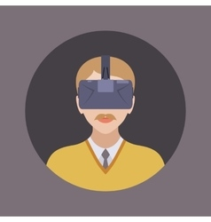 Man in the virtual reality headset vector