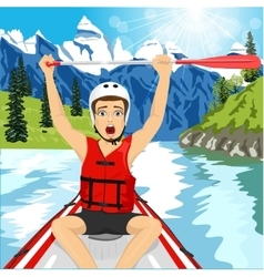 Young man in a raft boat crossing finish vector