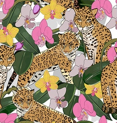 Seamless pattern of exotic flower orchid and vector