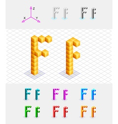 Isometric font from the cubes letter f vector