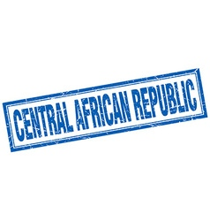 Central african republic blue square grunge stamp vector