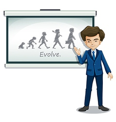 A gentleman explaining the evolution of humans vector image
