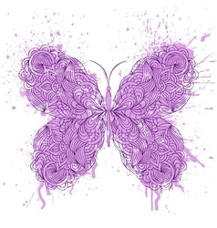 Abstract butterfly on grunge splash vector