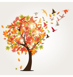 Autumn tree and birds vector