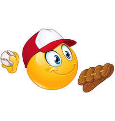 baseball pitcher emoticon vector image