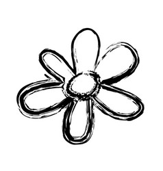 Blurred sketch contour flower floral icon vector