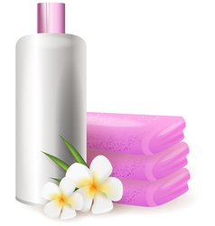 Bottle of shampoo with plumeria vector image