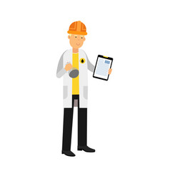 Chemical engineer character working on oil sample vector