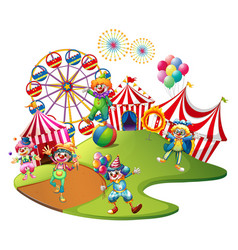 Clowns performing in the circus vector