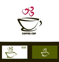 Coffee cup red heart logo vector