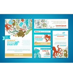 Corporate underwater sea life templates set vector