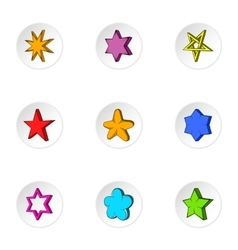 Figure star icons set cartoon style vector