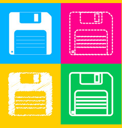 Floppy disk sign four styles of icon on four vector