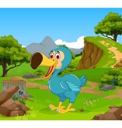Funny dodo bird cartoon in the jungle vector