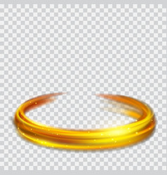 golden glowing fire rings with glitters vector image