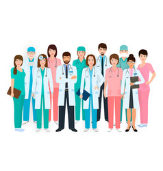 group of doctors and nurses standing together in vector image