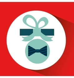 Happy fathers day with gift bowtie vector