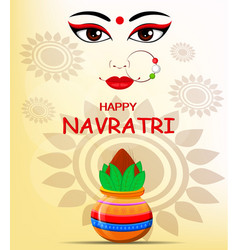 Happy navratri contour of maa durga face and pot vector
