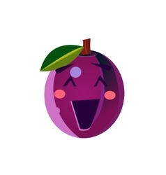 Laughing plum emoji vector