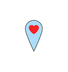 map pointer with heart solid icon vector image