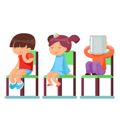 Medical care sick children sitting on chairs vector