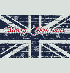 Merry christmas lettering on a wooden board vector