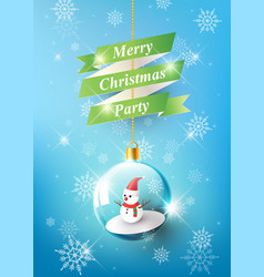 merry christmas with snowman in christmas ball vector image vector image