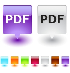 pdf square button vector image vector image