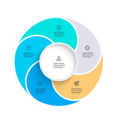 Pie chart presentation template with 5 vector