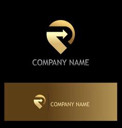 Position gps point arrow gold logo vector