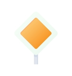 Priority road sign sign icon cartoon style vector
