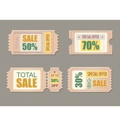 Sale tickets Coupon price promotion discount vector image