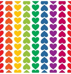 seamless pattern with hearts colored like rainbow vector image