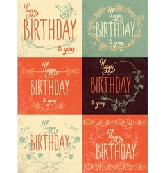 Set happy birthday hand lettering calligraphy vector image vector image