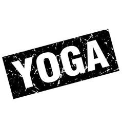 Square grunge black yoga stamp vector