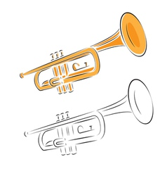 trumpet set isolated on white vector image vector image