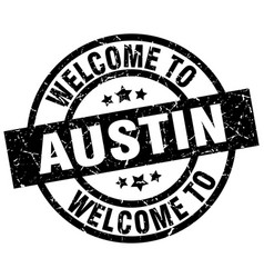Welcome to austin black stamp vector