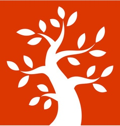 White bold tree icon on orange background vector
