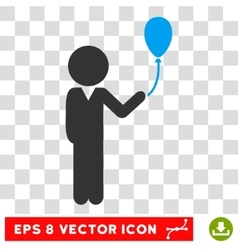 Child with balloon eps icon vector