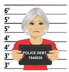 Arrested senior woman posing for mugshot vector