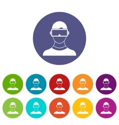 Virtual 3d reality goggles set icons vector